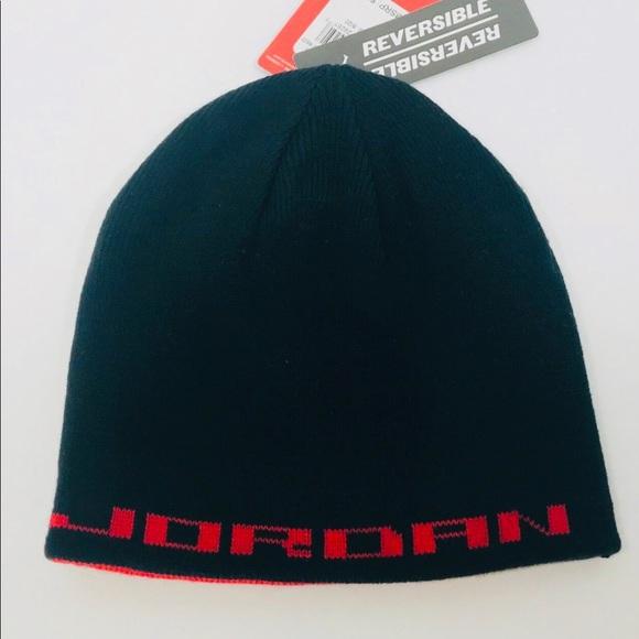 3ec85f405c4 Jordan Jumpman Black Red Knit Reversible Beanie. NWT. Jordan.  20  22. Size.  8 20